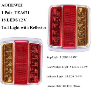 Image 2 - 1 Pair AOHEWEI 12v 18 leds trailer light high brightness License Plate brake stop position led light indicator tail light