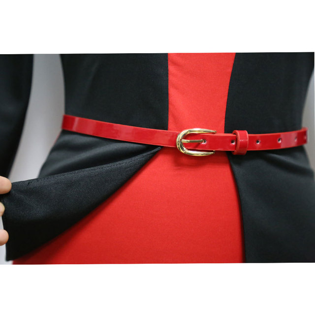 Womens Office Dress New Work Dresses 2018 Women Fashion Elegant Patchwork Business Bodycon Sashes Dress 3