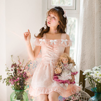 Princess sweet lolita dress Candy rain the new Japanese sweet spring collar chiffon dress Strapless Princess Dress C22AB7049