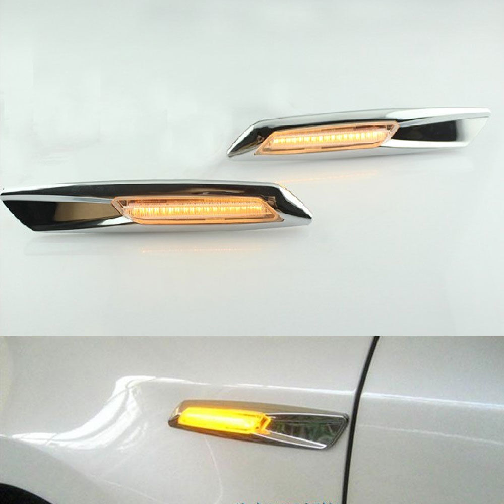 Car Lights Car Light Assembly 2pcs 12v 1.6w 162lm Abs+chrome Clear Side Led Marker Light Turn Signal Amber Day Light For Bmw 1/3/5 Series Car Styling Lighting New Varieties Are Introduced One After Another