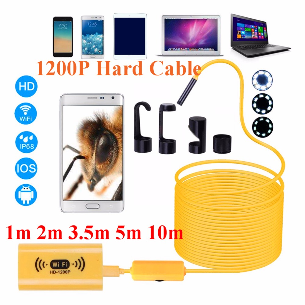 1200P HD Adjustable 8 LEDs WiFi Endoscope camera 8.0mm IP68 Hard Cable 1M 2M 3.5M 5M 10M for iOS for Android for Windows