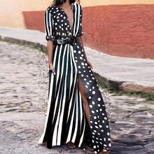 Polka Dot Shirt Dress Summer Women Long Striped Dress Casual Boho Vestido Largo Robe Longue Femme giyu summer women shirt dress casual striped printing dresses turn down collar vestido long sleeve basic robe femme