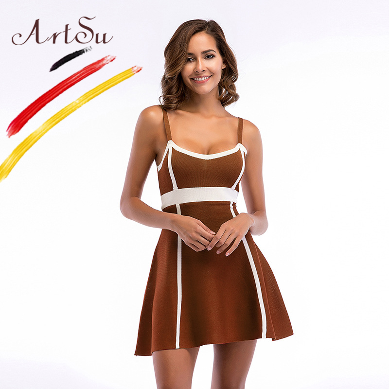 ArtSu Club Wear Sexy Spaghetti Strap Knitted Mini Swing Dress Ball Gown Women Summer V-Neck Slim Casual Dress Vestidos 2018 девушка из джерси