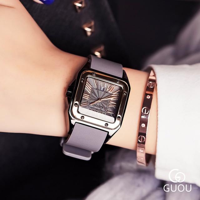 חדש כיכר נשים שעונים נשים רומי מספרי שעוני יד רוז זהב מקרה גומי סיליקון שמלת שעון גבירותיי קוורץ שעונים עבור גברת