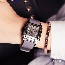New Square ผู้หญิงนาฬิกาผู้หญิงโรมันตัวเลขนาฬิกาข้อมือ Rose Gold กรณียางซิลิคอนนาฬิกาสุภาพสตรีนาฬิกาควอตซ์สำหรับสุภาพสตรี