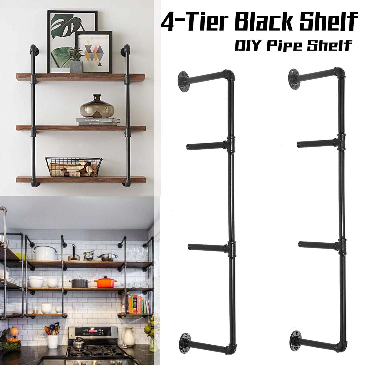 2 PCS 4 Tier Shelf Industrial Furniture Wall Shelf Bracket Hanging Storage Shelves Iron Pipe Black DIY Pipe Shelves