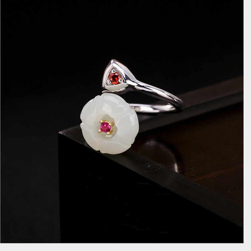 Uglyless 100% จริง 925 เงินสเตอร์ลิง Handmade สามเหลี่ยมเปิดแหวนผู้หญิงหยกดอกไม้แหวนหญิงเครื่องประดับ Bijoux