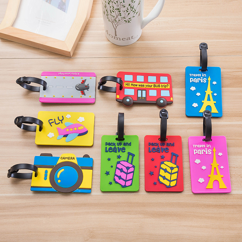 Cartoon PVC Luggage Pendant Hanging Drop Travel Card Bags Accessories Tag Silicone Boarding Ornaments For Suitcase 9 Colors