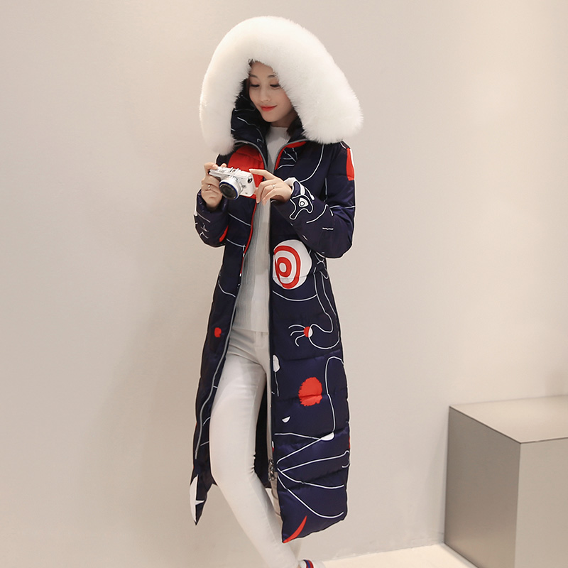 ФОТО Fashion Women's Coat Thicken Warm For Winter Parka X-Long Floral Print Fuzzy Fur Collar Hood Winter Jacket Women Parkas A0176