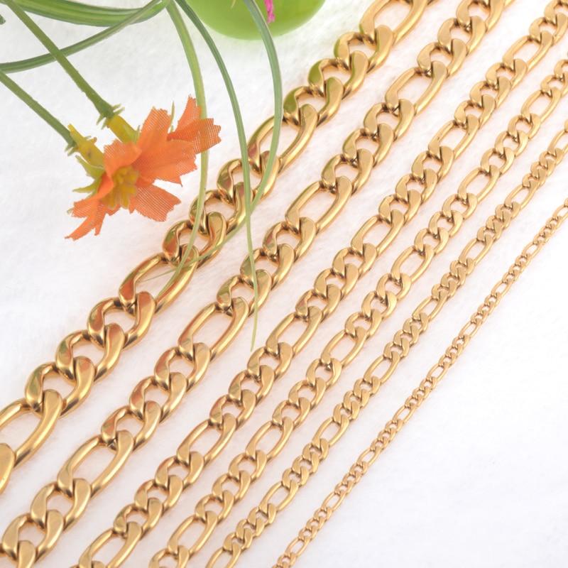 3.0mm (szélesség) Rozsdamentes acél női nyaklánc arany színű medál nyaklánc 3: 1 link Lánc