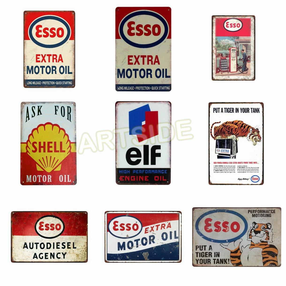 Metal Tin Sign Esso Extral Motor Oil Auto Garage Decor Bar Pub Home Vintage Retro Poster Онихомикоз