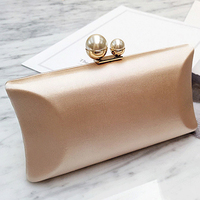 Women Clutch Bags Satin Luxury Pearl Handbags Evening Bag Black Wedding Bridal Purse Ladies Small Chain Crossbody Shoulder Bags