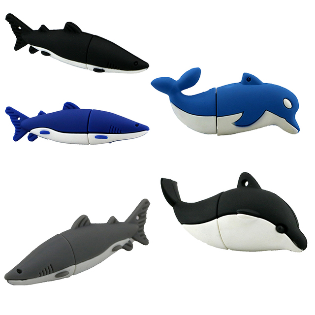 Palillo de la Memoria Pendrive de 4 GB 8 GB 16 GB 32 GB 64 GB USB Flash Drive Lindo Dolphin/Ballena/tiburón U Disco de la Historieta Encantadora Pen Drive