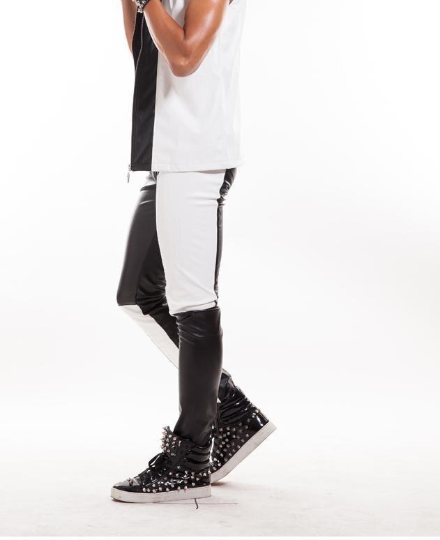 Pu Chanteur Moto Noir Fournir Scène Blanc Pantalon D'épissure Gilet Personnalisé Pantalons 1 Homme Simili Hommes Cuir 5XqHq