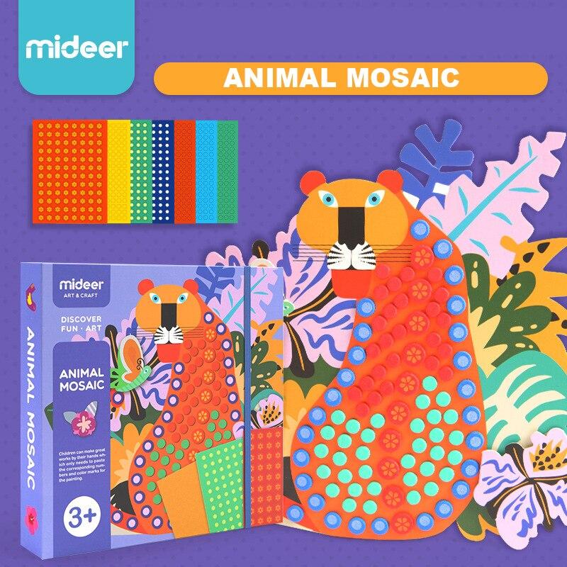 MiDeer Enfants EVA Animal Mosaïque Art Jouets Bébé Creative Main bricolage Pointillé Art 3D carte autocollante 3Y +