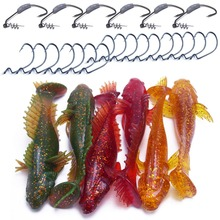 CATCHSIF 29pcs Sculpin shad Soft Goby Paddle Tail swimbaits and Fishing Worms Weighted Hooks цена