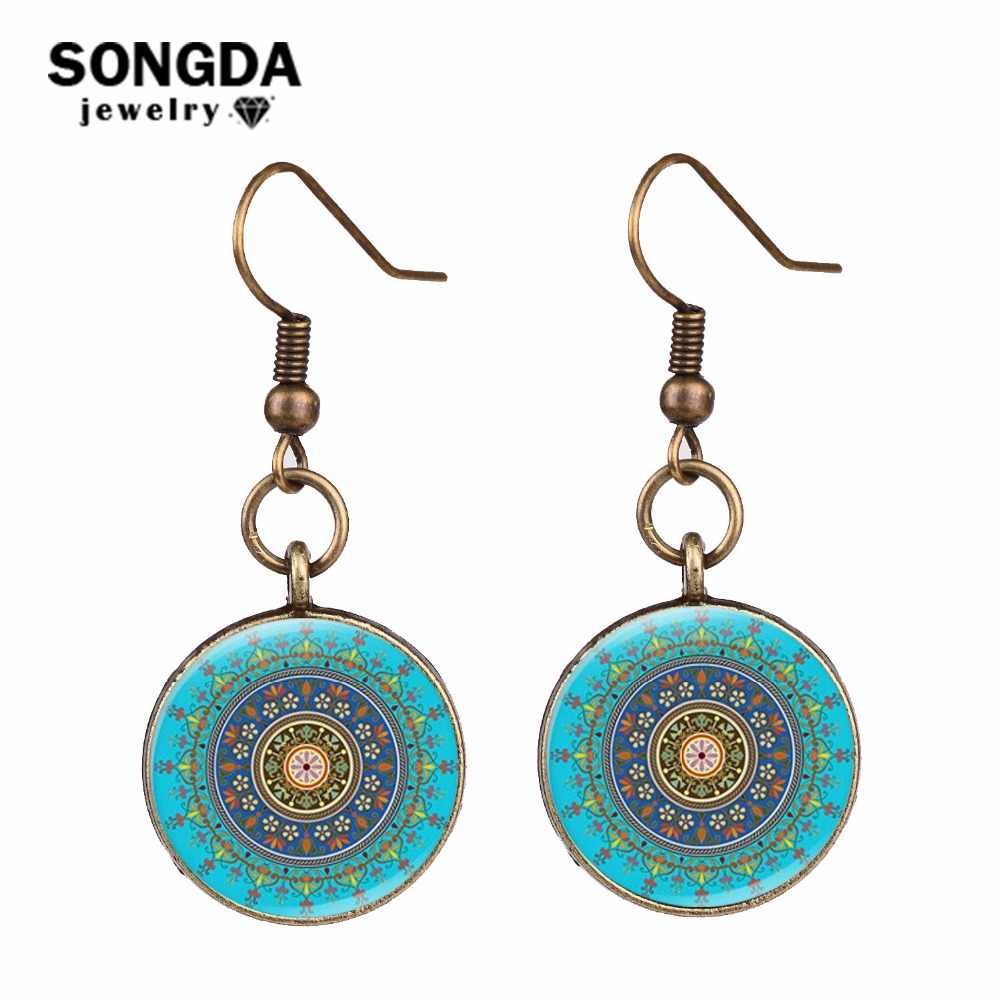SONGDA Elegant Sacred Geometric Earrings Simulation Blue Enamel Glaze Color Kaleidoscope Mandala Dangle Earrings Modern Jewelry