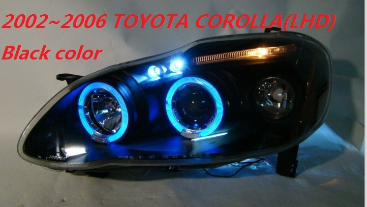 Free Ship 2002 2006 Toyota Corolla Ex Headlight With Xenon Projector Lens Hid Black Silver Option Optional Ballast Good Quality In Car Light Embly From