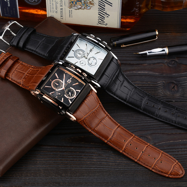 BADACE Brand Leather Strap Mens Watches Hours Casual Square Clock Japan Movt Quartz Men Watch Luxury Business Wrist Watch 2098