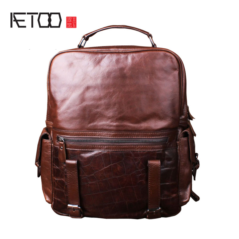 AETOO Fine grain cowhide shoulder bag men and women leather backpack head layer cowhide bag travel bag business computer bag aetoo original shoulder bag leather retro backpack business computer bag head layer leather travel male bag college wind