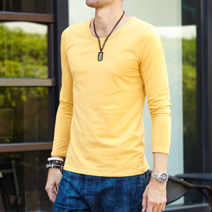 2016 Men Blank Long Sleeve Casual T Shirts Men V Neck Plain Black ...