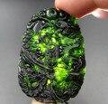 Chinês Verde Jade Esculpido Sorte Natural Preto Pingente de Dragão Phoenix Pingentes + Corda Colar de Jade Fina atacado