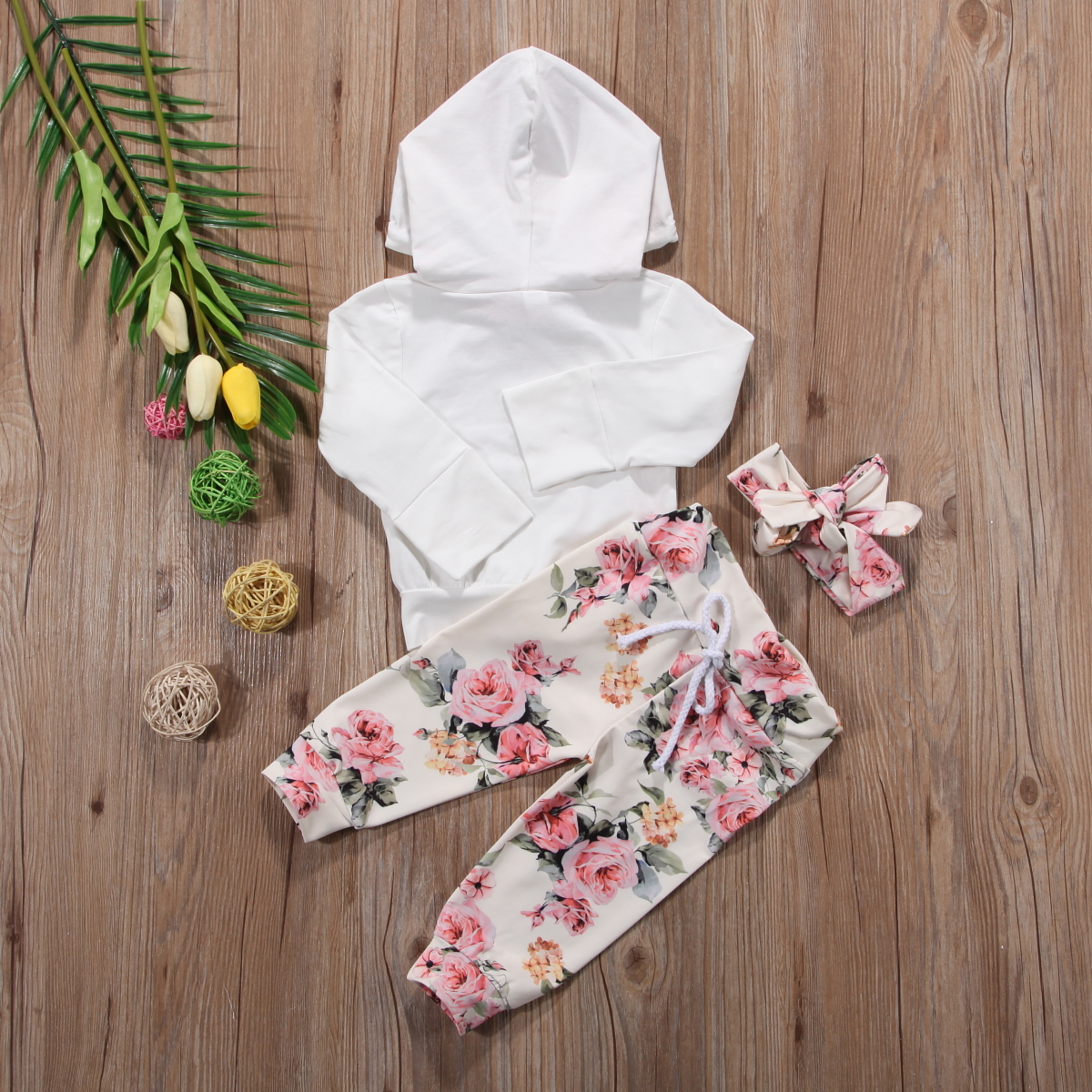 3PCS Baby Girls Tracksuit Clothes Floral Hooded Tops Long Pants Outfits Headband