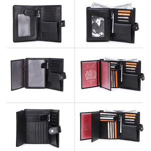 Image 4 - CONTACTS Genuine Leather men passport wallet with metal hasp zipper big Coin pocket Business male trifold purse card holder