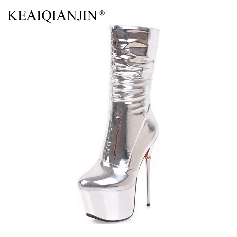 KEAIQIANJIN Woman Sexy16 CM High Heeled Boots Plus Size 32 - 43 Silver Chelsea Boots Fashion Plus Size 32 - 43 Winter Ankle Boot lovexss woman genuine leather ankle boots autumn winter high heeled shoes fashion plus size 32 43 black work chelsea boots