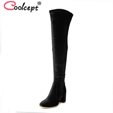 Coolcept 4 цвета на высоком каблуке женские сапоги зимние сапоги до бедра женские ботинки модная женская обувь растягивающиеся сапоги обувь размеры 33–42
