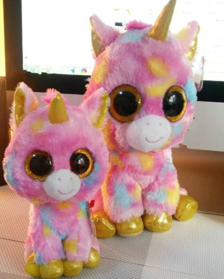 2015 new ty plush animals toys big eyes unicorn toy with golden eye ty big  eyes stuffed doll unicorn for children s gifts bb725825a70