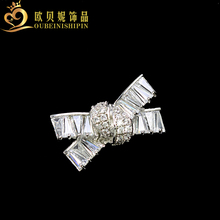 OBN Cute Silver Micro Pave CZ Knot Bow Brooches Rhinestone Pin Wedding Jewelry For Women