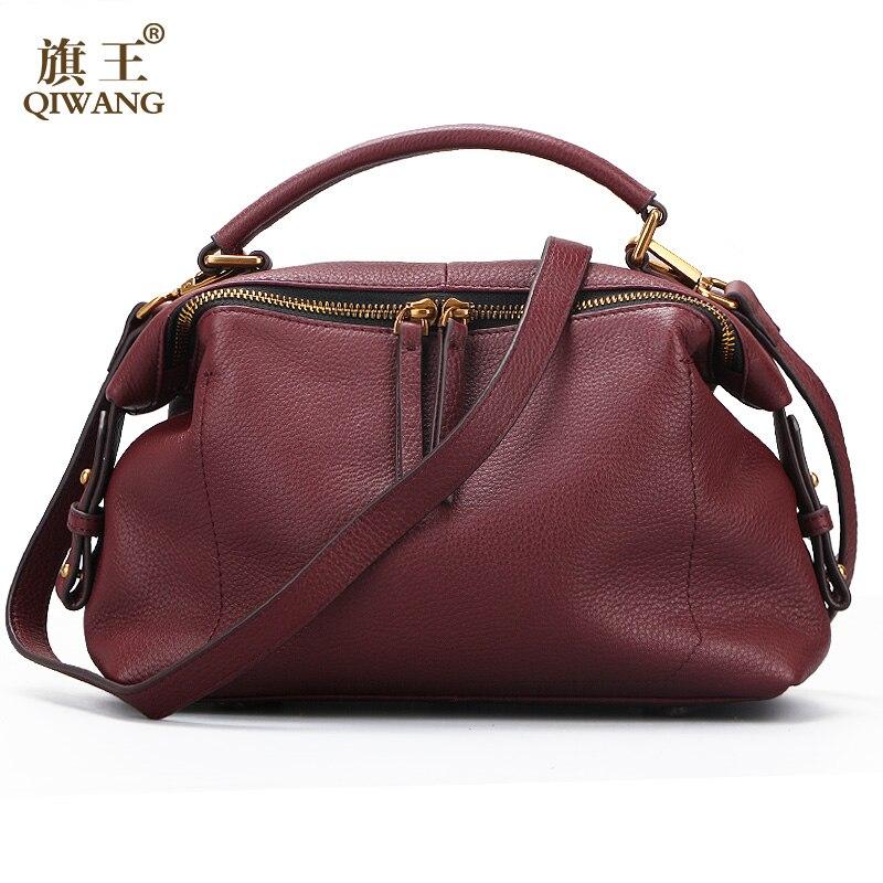 Qiwang Luxury Brand Women Shoulder Bags 100% Genuine Leather Women Designer Bag Soft Real Leather Bag Natural Skin Leather Purse shoulder bag