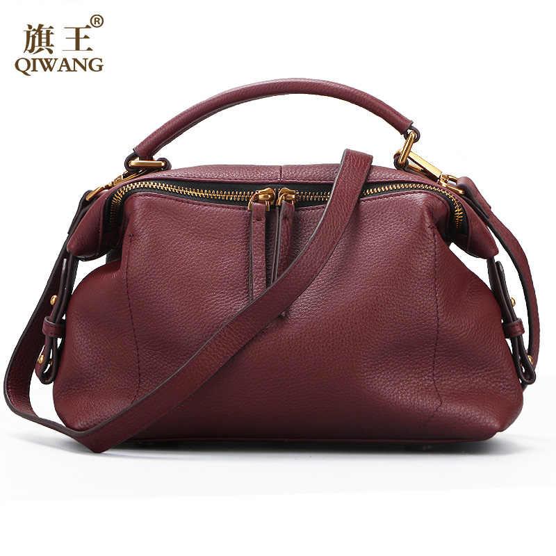 bf72271611a2 Qiwang Элитный бренд Для женщин сумки на плечо из 100% натуральной кожи  женская дизайнерская сумка