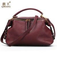 Qiwang 2017 Casual Tote Women Shoulder Bags 100 Genuine Leather Women Bags Designer Brand Female Handbags