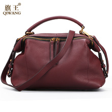 Qiwang 2017 Casual Tote Women Shoulder Bags 100% Genuine Leather Women Bag Designer Brand Leather Handbags Luxury Crossbody Bags