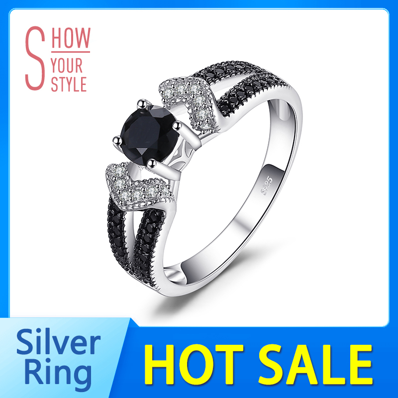 JewelryPalace Elegant 0.8ct Natural Black Spinel Wedding Band Ringen - Fijne sieraden