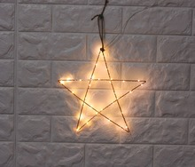 2pcs/set  12inch LED metal star with copper wire light battery operated Sign LIGHT UP Indoor Deration