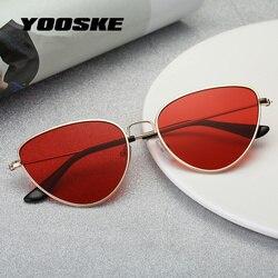 YOOSKE Ретро кошачий глаз солнцезащитные очки женские красные кошачьи глаза солнцезащитные очки модный светильник для женщин винтажные метал...