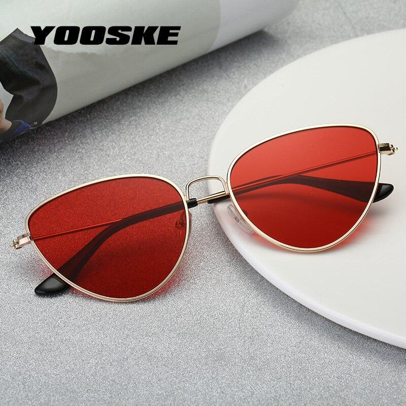 YOOSKE Retro Cat Eye Sunglasses mujeres rojo Cateyes gafas de sol ligero moda Sunglass para las mujeres Vintage Metal gafas