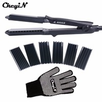 Multifunctional Ceramic Hair Straightener Curling Tourmaline Heating Hair Curler Corrugated Iron With 4 Plate Styling Tools