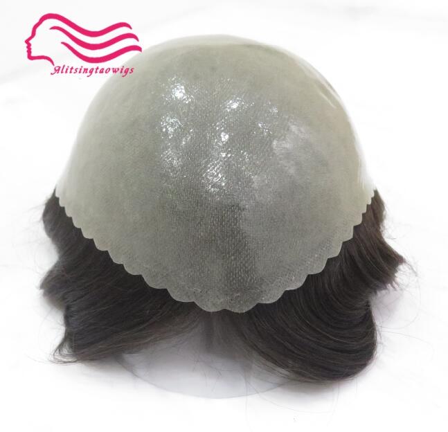 Bem durável Homens peruca pele fina 8x10 polegada, homens de cabelo peruca, recolocação do cabelo, sistema de cabelo frete grátis, Tsingtaowigs