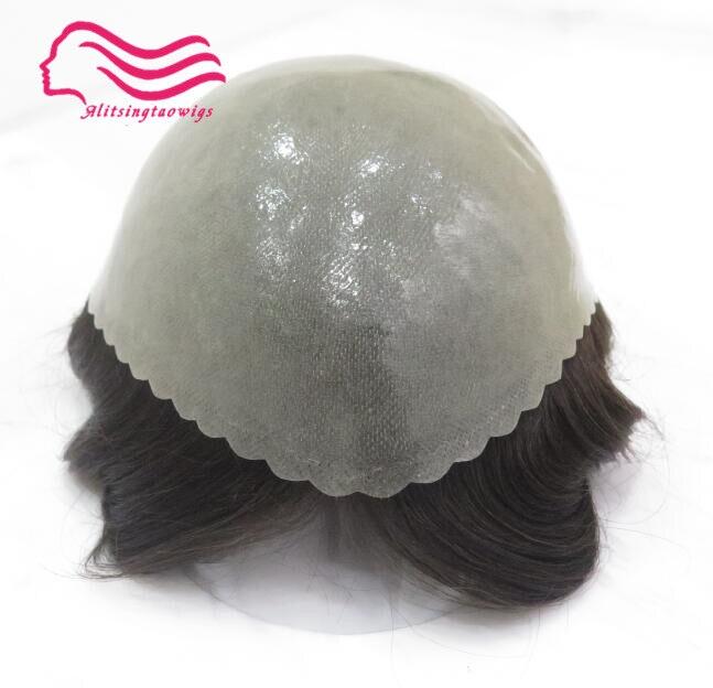 Bene durevole pelle sottile Uomini toupee 8x10 pollice, capelli uomini parrucca, sostituzione dei capelli, sistema di capelli trasporto libero, Tsingtaowigs