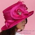 Elegante Del Envío Libre Nuevo Vestido de Las Mujeres Sombrero Sombrero Sinamay Sinamay Cintas Mujeres Del Sombrero Del Sol-Shading Sol De Moda el Sombrero Rosa Flor roja