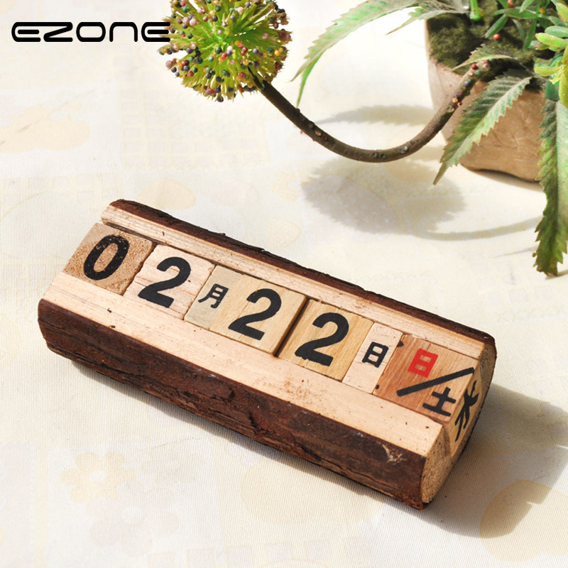 EZONE Manual Wooden Calendar Countdown Table Calendar Numbers And Letters Decoration Handmade Desk Calendar Material Escolar