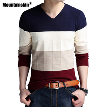 Mountainskin Pullover Men 2019 Autumn Winter Wool Slim Knitted V neck Sweater Men Casual Striped Pull