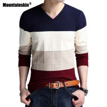 Mountainskin Pullover Men 2019 Autumn Winter Wool Slim Knitted V-neck Sweater Men Casual Striped Pull Men Brand Clothing SA718