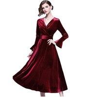 HAMALIEL High Quality Wine Red Velvet Party Midi Dress Winter Women Flare Sleeve Fashion Dress Vintage Sexy V Neck Dress Vestido