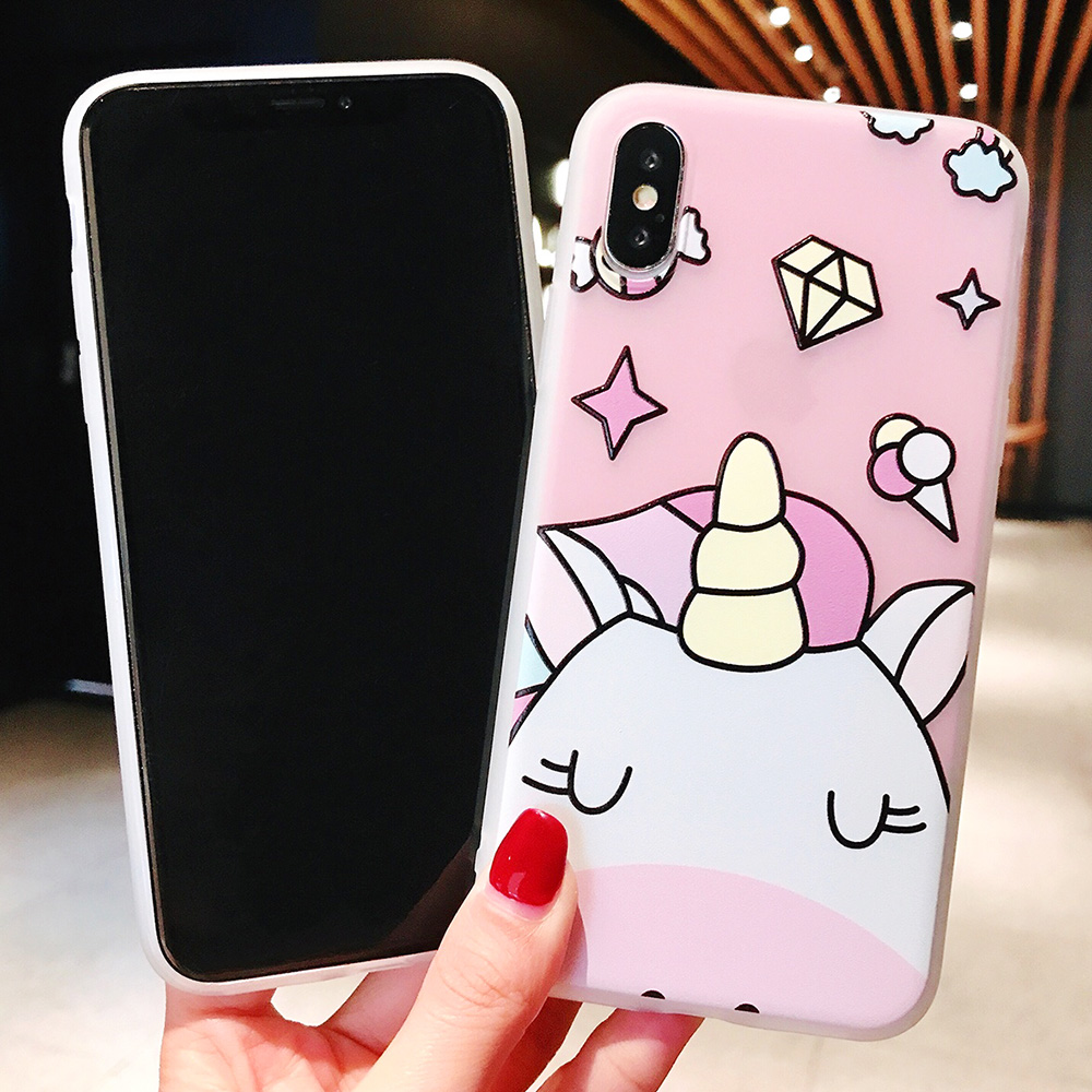 KIPX1104_3_JONSNOW Phone Case For iPhone XS Max XR XS 6 6S 7 8 Plus Funny Cute Emboss Unicorn Pattern Soft Silicone Cover Cases Capa Fundas