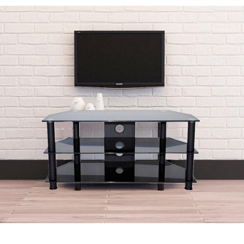 soporte de la tv moderna negro mm de vidrio templado muebles estantera saln de la